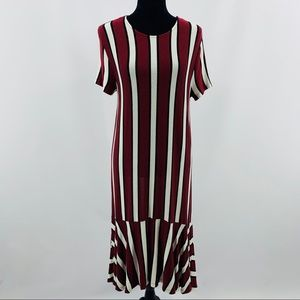 Zara Trafluc Wine Black White Striped Dress